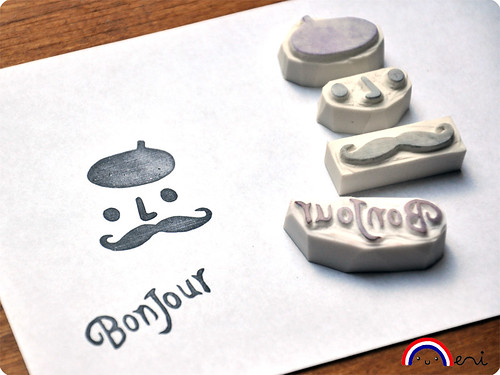 Mustache hand carved rubber stamp stes
