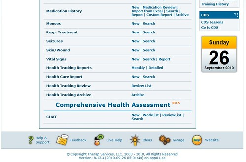 Screenshot of Dashboard showing Electronic Comprehensive Health Assessment Tool