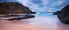 From Here to the Moon... (Rex Maximilian) Tags: ocean longexposure sea moon hawaii sand pacific oahu fullmoon moonrise shore hawaiikai halonablowhole kaiwi halonabeachcove