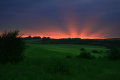 Sun Rays! (Audiotribe) Tags: cloud sun green sol nature field clouds denmark ray sundown mark natur fields rays danmark solnedgang grnt platinumphoto  strle