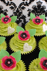 Hot Pink, Black & Lime Green Love (Little Cottage Cupcakes) Tags: birthday wedding black flower green leaves cupcakes heart anniversary limegreen cupcake hotpink littlecottagecupcakes
