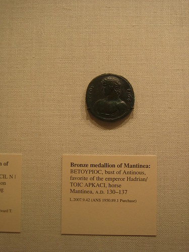 Bronze medallion of Mantinea - BETOYPIOC, bust of Antinous, favorite of  Hadrian_TOIC APKACI, horse Mantinea, A.D. 130-137 _8252
