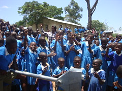 Jubilant students of Eshikhoni primary school during hand over ceremony