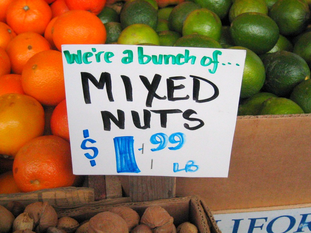 Sign on a bunch of mixed nuts