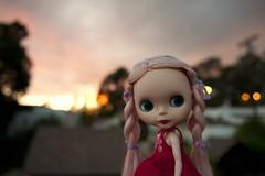 Piaf at dusk (snoopygirl) Tags: pink sunset blythe custom piaf ebl d700