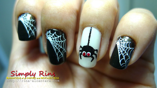 nail art halloween spiders 03