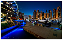 Dubai Marina Blue (DanielKHC) Tags: blue light panorama 6 electric club digital marina boats interestingness high nikon dubai dynamic yacht uae explore hour range luxury dri hdr blending d300 danielkhc tokiba1116mmf28 gettyimagesmeandafrica1