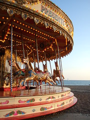 carousel, Brighton seafront (beestingtouch) Tags: uk sunset england horses beach vintage sussex coast brighton ride fairground britain south go great roundabout carousel fair round merry seafront funfair 2010