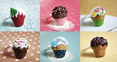 Cute Cupcakes (PetitPlat - Stephanie Kilgast) Tags: birthday pink party food cute rainbow chocolate jewelry confetti ring polymerclay fimo cupcake minifood muffin fauxfood minaiturefood stephaniekilgast bijouxgourmands