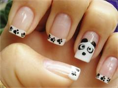 Unha da semana - Ursinho panda (Mhilka ♥) Tags: art branco panda nail preto dot bolinha unha patinhas ursinho francesinha