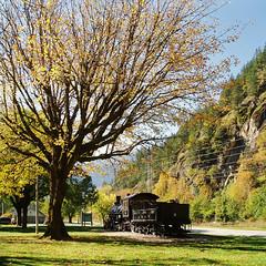 Fall Colors and Old Number 6 (KurtClark) Tags: 6 washington highway steam number wa locomotive six northcascades newhalem sr20 seattlecitylight
