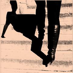 Kinky boots, kinky shadow (JayJay Klees) Tags: camerabag iphone monochromia