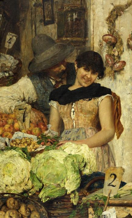 A Venetian Vegetable Stall-Courtship by Giacomo Favretto