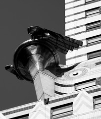 Chrysler Building Gargoyle, NYC (B&W) (RStreetUK) Tags: new york city nyc sky blackandwhite bw usa building art architecture america canon eos manhattan united gargoyle states chrysler deco 2010 500d eos500d canoneos500d