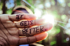 It Gets Better. (tyreke.white) Tags: blue trees light green yellow project nikon hand bokeh suicide it flare sharpie better gets youtube d3000