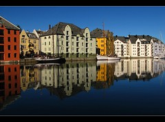 Reflections of Alesund (RainerSchuetz) Tags: norway sailboat reflections fjord lesund romsdal hurtigruten aalesund sunnmre alesund wow1 wow2 wow3 wow4 wow5 mywinners magicunicornverybest brosundetcanal