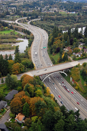 Aerial view of I-5 in Olympia