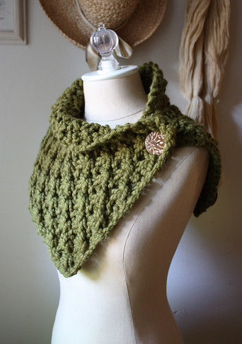 Asterisque Hand Knit Cowl Shoulder Warmer in Dark Moss