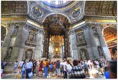 St. Peter's Basilica in the Vatican - HDR - Rome (Margall photography) Tags: people vatican rome roma st canon photography san sigma vaticano peter marco bernini hdr baldacchino pietro 30d galletto margall mywinners