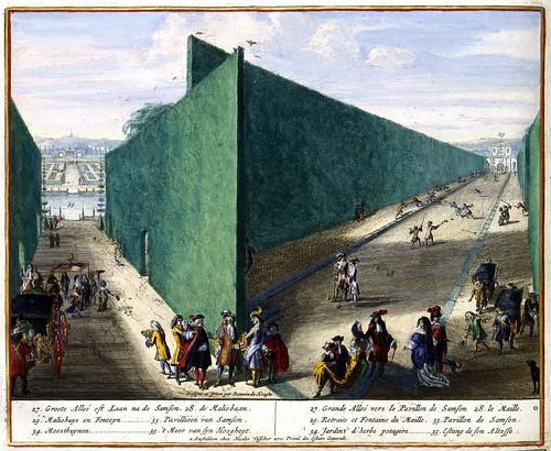 Aangezicht op het pavilioen van Samson en het meer van] sijn Hoogheyt