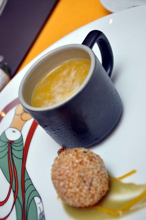Sweet Potatoes with Avocado Orange peel Cream of Pumpkin Pomelo