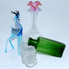 Glass collection (saucery) Tags: pink blue green glass bottle deer collection pharmacy blown nottobetaken