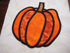 Stained glass quilt pumpkin