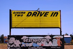 Cinema Two drive in, Manistique Michigan (Cragin Spring) Tags: two cinema fall abandoned sign yellow vintage movie midwest theatre michigan north gone retro drivein greatlakes upnorth northern upperpeninsula