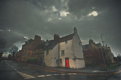 St Andrews - Sleepy hollow (t4tO_) Tags: street door red sky people house mist building texture film fog clouds dark movie scotland alley darkness ghost atmosphere sleepy processing standrews processed hdr hollow sleepyhollow scozia canon1022mm photomatix texturized tonemapping canon50d theauthorsplaza antoniogiudice