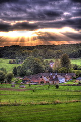 Twilight's Last Gleaming (brianfuller6385) Tags: clouds landscape farm sunbeams shorne oasthouse kentshorne shorneifield