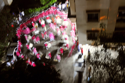 Pune Drum beaters in Pink in a state of haze on the day God Ganesha is immersed in the waters