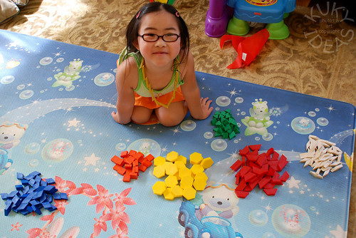 Isabelle really LOVES these pattern blocks