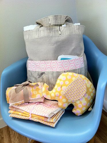 "Baby shower gift: ""Diaper tote"" using ""Everyday Shopper"" pattern from Amy Butler's ""Style Stitches."""