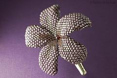 Beaded Plumeria Flower - pearly eggplant - beadwoven flower clip (heartinhawaii) Tags: flower dark purple plumeria handmade burgundy tropical beaded garnet beadwoven