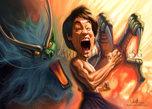 digital caricature of furious Bruce Lee - small