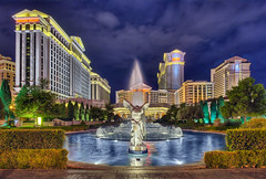 Caesars Palace with Fountain,  Las Vegas (Mister Joe) Tags: vegas fountain pool architecture night lights hotel nikon lasvegas nevada joe palace casino caesarspalace dynamicrange hdr glamor caesars placeofinterest
