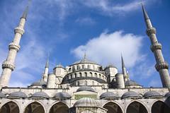 The Blue Mosque (Eiretrains) Tags: city blue turkey minaret courtyard istanbul mosque dome sultan ahmed minarets