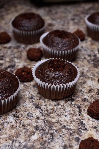 Making salted caramel dark chocolate cupcakes