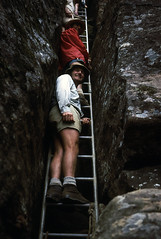 Pigeon House ladder, 1974 (NettyA) Tags: park mountain film rock 35mm 1974 australia slide national bushwalking nsw scanned newsouthwales ladder kodachrome wilderness slides southcoast pigeonhouse morton budawang budawangs voigtlandervitoii billtomsett