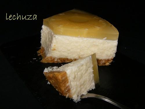 Tarta de coco y piña-porción