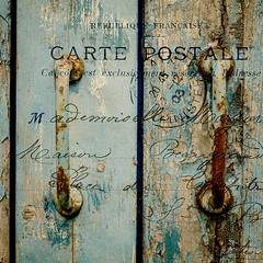Carte Postale (Peter Jaspers (sorry less time to comment)) Tags: frompeterj© olympus omd em10 1240mm28 zuiko mft m43 france french postcard cartepostale texture blue rust wood door port normandie normandy manche cotentin valdesaire 500x500 square montfarville