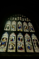 Stained Glass (koukat) Tags: uk drive cumbria lake district cartmel church priory miserichords misericords tip up seats