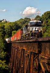 First Trestle Freshness (Wheelnrail) Tags: ns norfolk southern ac44c6m train trains ge general electric bridge trestle ludlow kentucky cnotp freight locomotive altoona works cincinnati