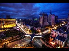 Kunming at night (Kaj Bjurman) Tags: china above blue light sky cars night buildings eos 5d kunming hdr kaj mkii markii cs4 photomatix bjurman