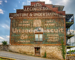 Uneeda Biscuit (Uncle Phooey) Tags: advertising explore hdr oldsign uneedabiscuit nabisco nationalregisterofhistoricplaces nationalbiscuitcompany clarksvilletennessee furnitureandundertaking unclephooey jfcoutssons coffinsandcasketsandcrackersohmy inrainorshinejustasfine