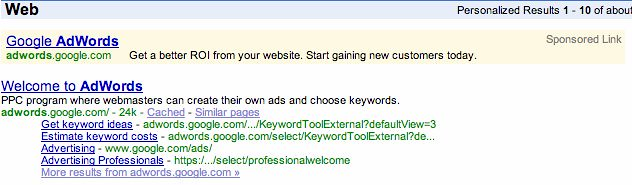 Yellow AdWords from Google