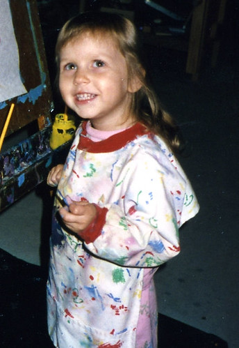 Christina (3) at the easel in 1993.