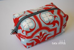small cosmetic pouch - Joel dewberry (coco stitch) Tags: blue red japanese grey kei box small polkadots pouch etsy cosmetic joeldewberry cocostitch