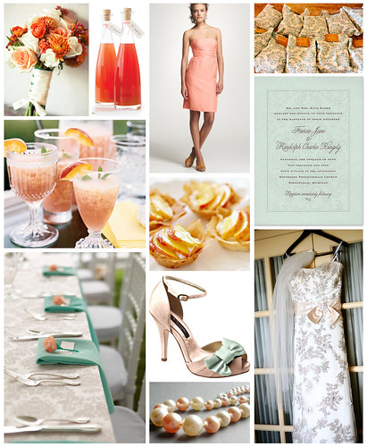 Aqua, Peach and Damask Wedding
