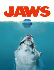 stella jaws (buzzhayes) Tags: dog white girl illustration photo crazy lemon penn catch fetch racquetball stellathebeagle jawsoriginalposterartbyrogerkastel